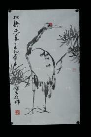 著名画家、国家一级美术师 赵洪波 乙未年(2015)水墨画作品《松鹤延年》一幅(纸本软片,约2平尺,钤印:赵氏洪波)HXTX311003