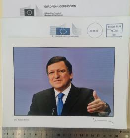 2012年诺贝尔和平奖获得者、欧洲理事会前主席、欧盟总统(2004-2014)、葡萄牙前总理、政府首脑(2002-2004)、社会民主党主席(1999-2004)、外交部长(1992-1995)、高盛国际集团主席、日内瓦大学教授、若泽·曼努埃尔·巴罗佐(José Manuel Barroso)、亲笔签名、官方大照片1张(非常珍贵、非常罕见)