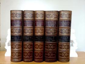 Clarker's Holy BibIe 5卷,75幅整页钢版画,全小牛皮精装,三面书口大理石纹,5大厚册