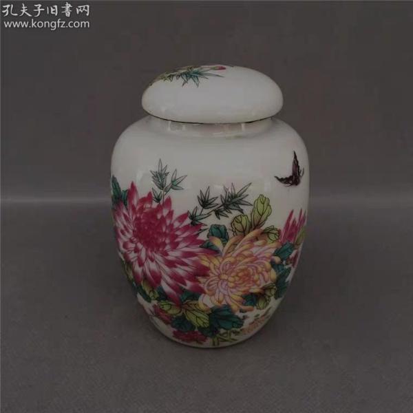 景德鎮花鳥菊花粉彩茶葉罐瓷器 高度:11.5公分,口徑:4.5公分,底徑:6公分
