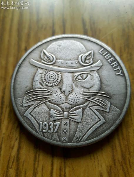 流浪漢硬幣Hobo Nickel 紳士貓1937 古硬幣雕刻經典 骷髏頭藝術創作